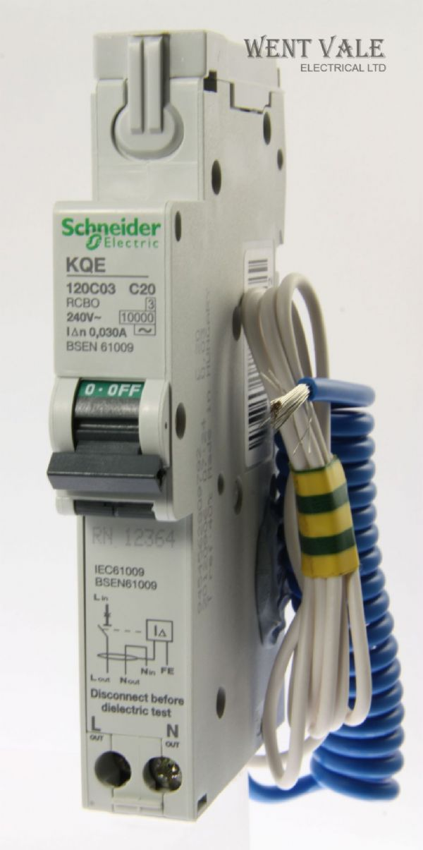 Schneider Loadcentre - KQE120C03 - 20a 30mA Type C Single Pole RCBO Used